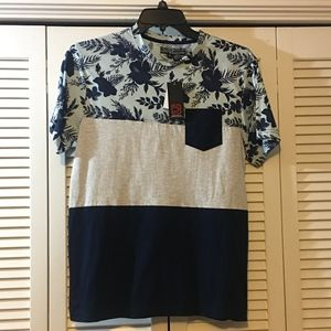 Blue and Gray Floral Print T-Shirt (Size S)